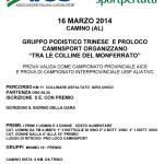 volantino tra le colline del monferrato a camino al 16 marzo 2014