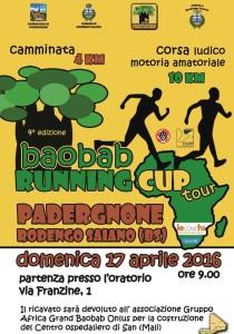 volantino baobab running padergnone di Rodengo Saiano 17 4 2016
