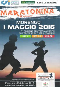 volantino maratonina di morengo 2016