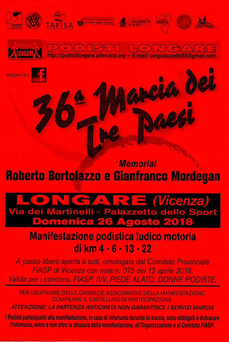 Calendario Marce Fiasp Vicenza 2019.Marcia Dei Tre Paesi 36a Edizione Podopodo It
