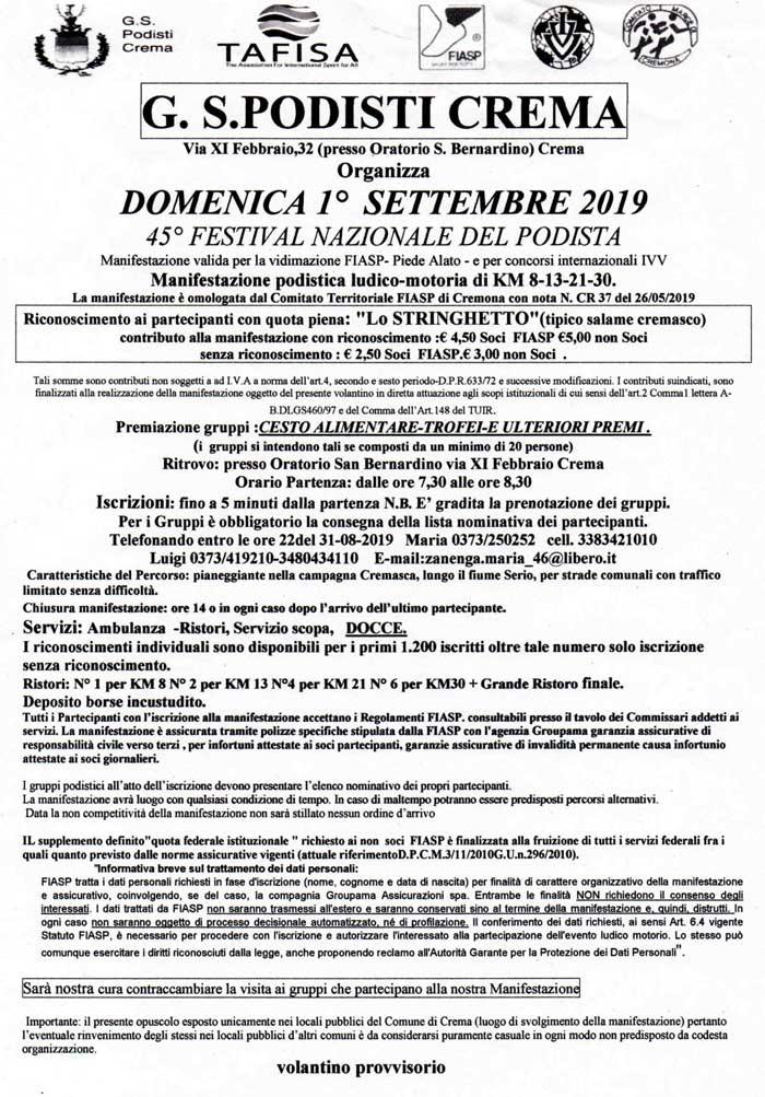 Il Calendario Del Podista.Festival Nazionale Del Podista 45a Edizione Podopodo It